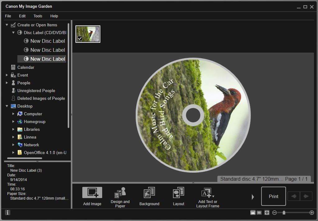 I am creating my own disc using a photo I took of a Red-breasted sapsucker and I put some text on the disc using the Text (Arch) selection which wraps it in a curved fashion. This program is easy to use.