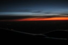 Sunrise from Airplane: Red-Eye Flight to Chicago