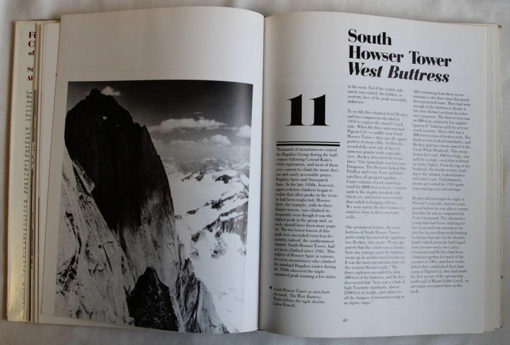 Book on climbing the South Howser Tower, West Buttress