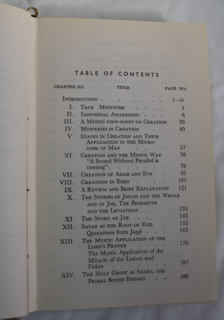 The Mystic Bible Table of Contents