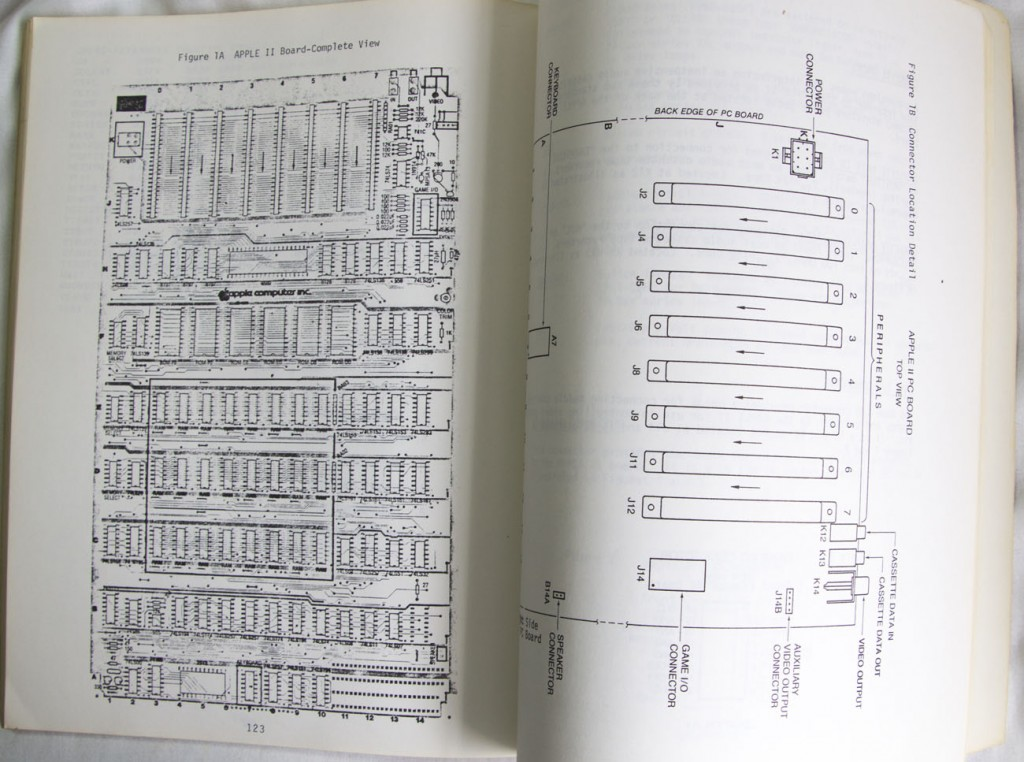 The Apple II Reference Manual has schematics of the Apple II computer, like this one showing the complete board view.