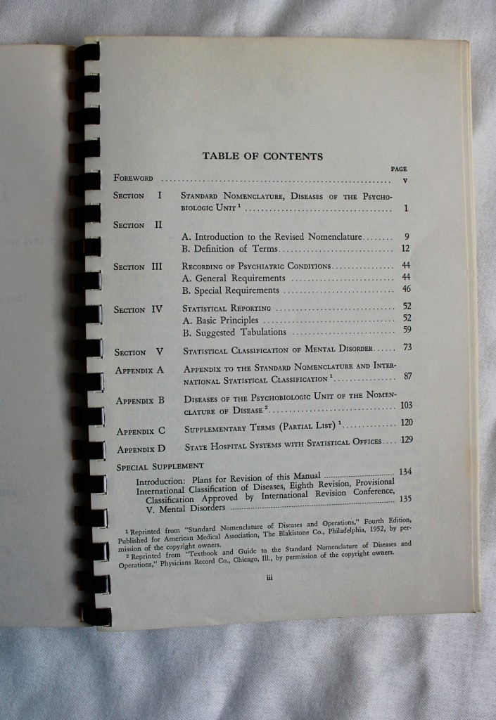 DSM-I Table of Contents