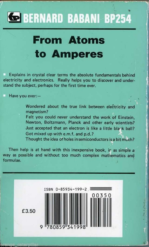 From Atoms to Amperes by F A Wilson (Back Cover)